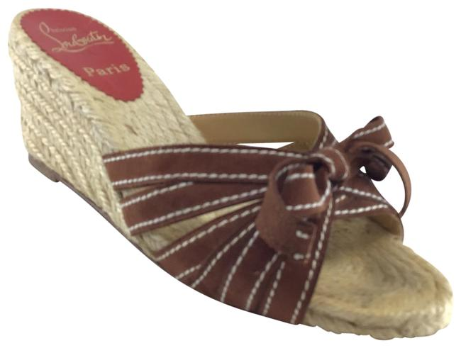 Item - Brown Suede Ribbon/ Bow Front Wedge Espadrilles Mules/Slides Size US 7 Regular (M, B)