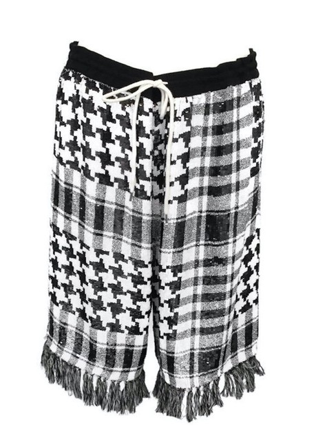 Item - Black/White Sequin Fringed Shorts Size 8 (M, 29, 30)