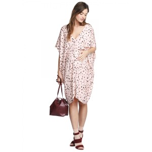 Hatch Leopard Animal Print Maternity Flowy V-neck Dress