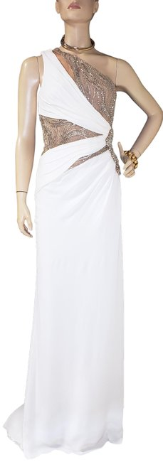 Item - White Crystal Embellished Silk Gown Long Formal Dress Size 4 (S)