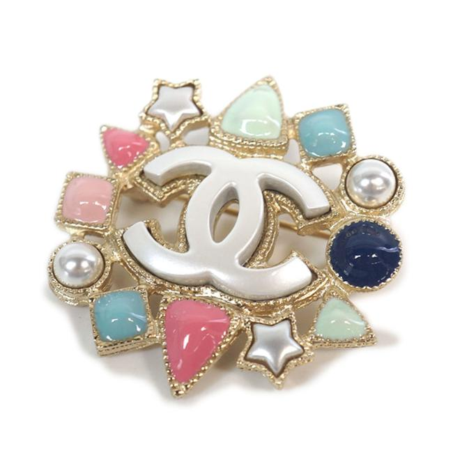 Item - Gold Mint Navy Pink Pearly Cc Stone Brooch