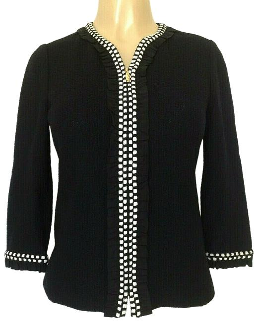 St. John Blue Black Collection Boucle Knit Jacket Sweater Ruffled Trim Zip Blazer Size 2 (XS) St. John Blue Black Collection Boucle Knit Jacket Sweater Ruffled Trim Zip Blazer Size 2 (XS) Image 1