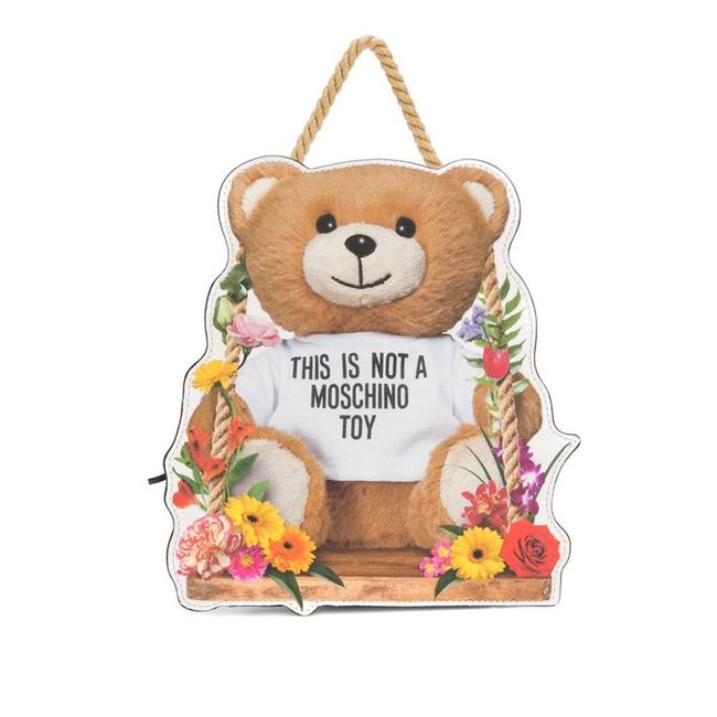 Item - Floral Teddy White Leather Backpack