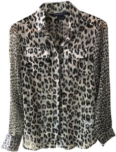 French Connection Print Animal Print Top Black Gray Leopard