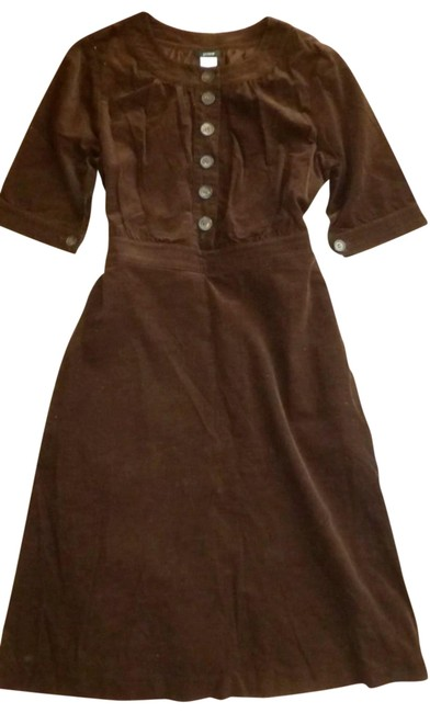 Item - Brown Corduroy Elbow Sleeve Mid-length Casual Maxi Dress Size 10 (M)