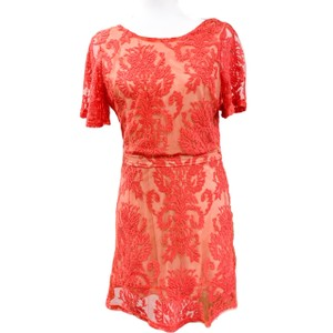 Luxxel Lace Overlay Short Sleeves Backless Cut-out Dress