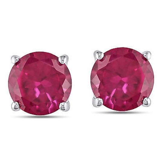Other Sterling Silver 4-12ct Tgw 8mm Round Created Ruby Solitaire Earrings