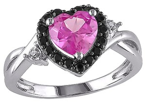 Other Silver Black Diamond Pink Sapphire Black Spinel Heart Ring