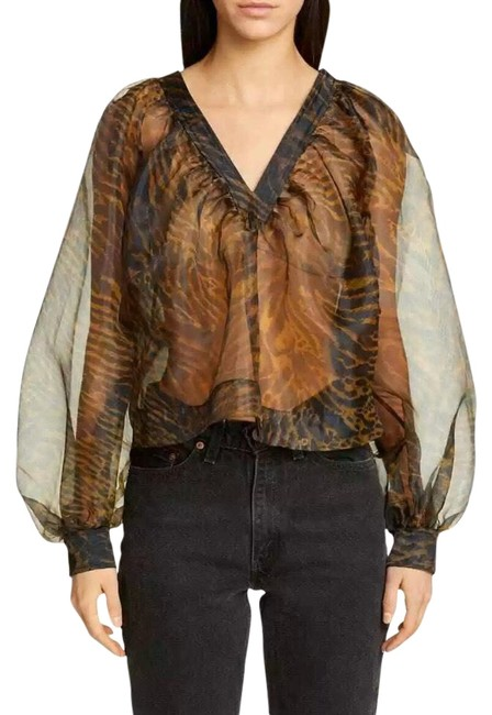 Item - Black/Brown Tiger Print Sheer Organza Blouse Size OS (one size)