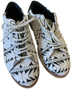 Miista Embroidered Leather Woven Black & White Flats