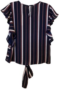 Monteau Los Angeles Red White Flutter Tie Top Navy