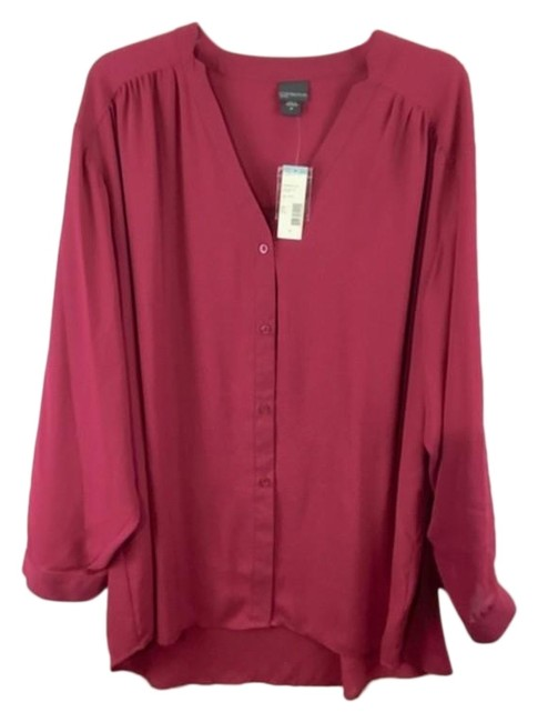 Item - Red Button Down Long Sleeves Tee Shirt Size 26 (Plus 3x)