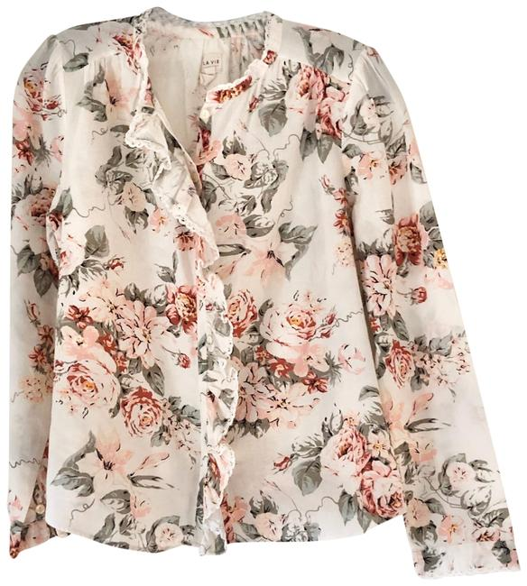 Item - White Floral Blouse Size 4 (S)