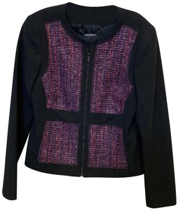 Trina Turk Zipper Boucle Work Attire Longsleeve Black & Purple Jacket