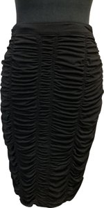 Burberry Ruched Designer Bodycon Pencil Skirt Black