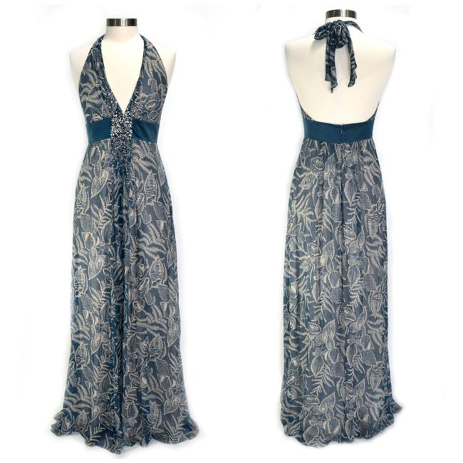 Item - Marine Blue Silk Chiffon Embellished Leaf Print Halter Maxi Long Night Out Dress Size 4 (S)