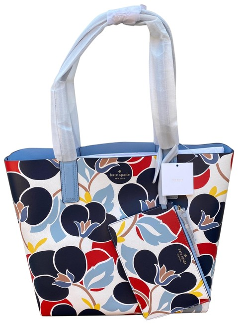 Item - Breezy Multi-color; Reversible To Light Blue Leather Tote