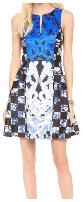 Item - Black-blue-white Rococo Check Sleeveless In Short Cocktail Dress Size 4 (S)