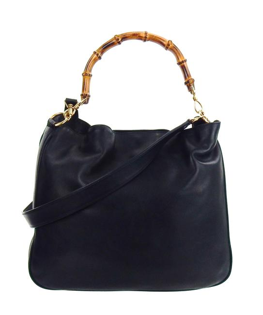 Item - Bamboo Diana Tote 2-way Black and Gold Lambskin Leather Shoulder Bag