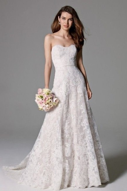 Item - Ivory Over Almond Lace Adair Feminine Wedding Dress Size 14 (L)