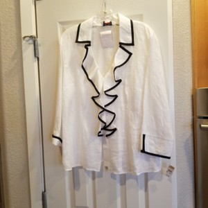 Talbots Top White with black accents