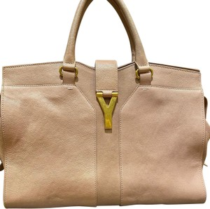 Saint Laurent Leather Logo Cabas Ysl Chyc Tote in Pink