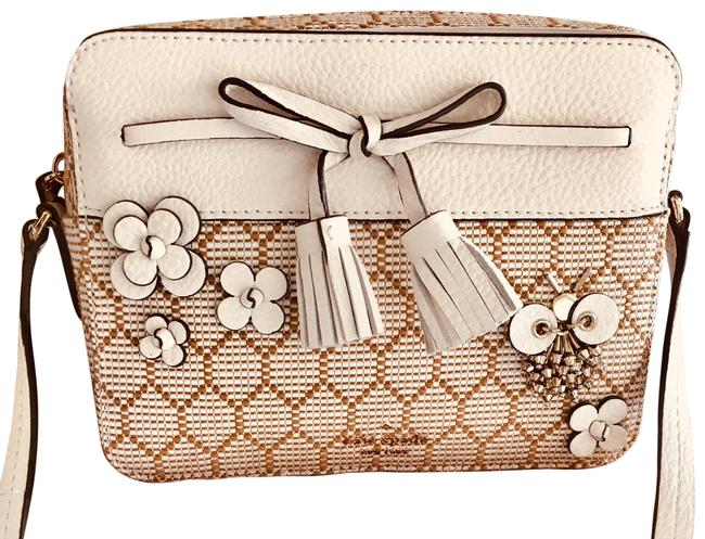 Item - Camera Nwt. Adjustable Strap Bronze Gold and Off White. Leather Canvas Cross Body Bag