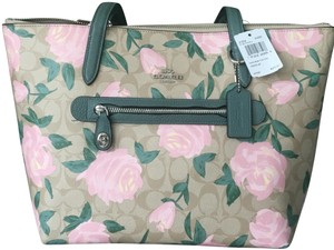 Coach Tote in Kaki and pink