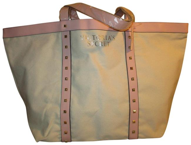Item - Studded Beige & Pink Canvas Faux Leather Tote