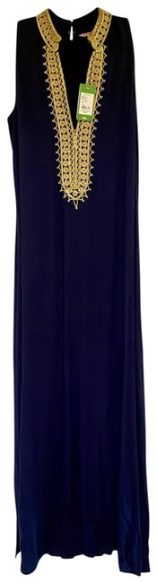 Item - Navy with Gold Detailing Jane Maxi Long Cocktail Dress Size 6 (S)
