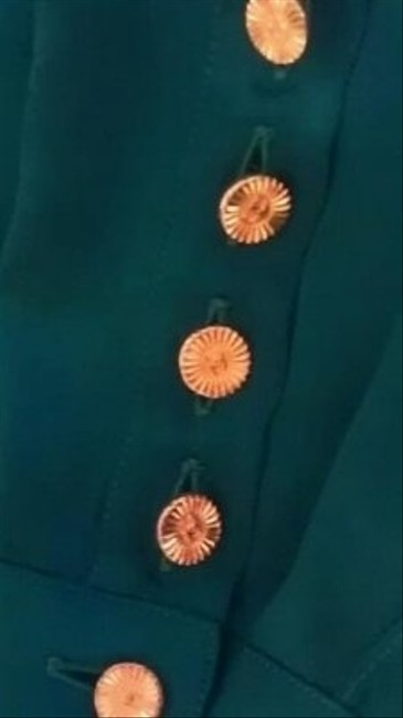 Chanel Elegant Classy Chic Gold-tone Buttons Interlocking Cc Top Emerald