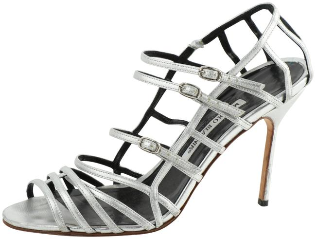Item - Silver Cage Strappy Heels Pumps Size US 10 Regular (M, B)