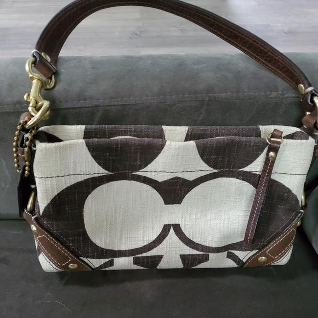 Item - Rarely Seen Poppy Sig. Handbag Cream and Brown. Cross Hatch Glam Fabric Baguette