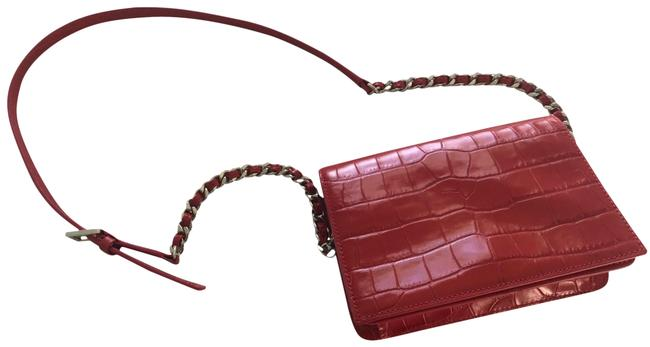 Item - Clee Crocodile Embossed Red Leather Cross Body Bag
