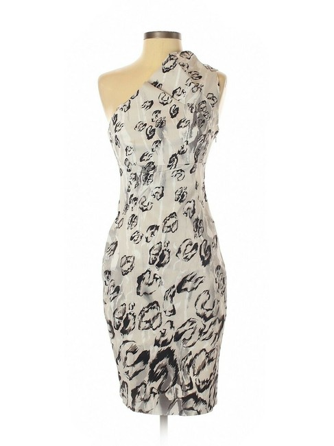 Item - Black/White Dk193 Snow Leopard One Shoulder Evening Occasion Mid-length Formal Dress Size 8 (M)