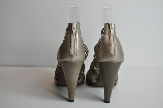 Barneys Co-Op New York Leather Slingbacks Size 37/7 Gold Taupe Sandals