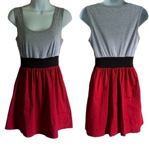 BeBop short dress Red Gray Skater Color-blocking Sundress Retro Midi on Tradesy