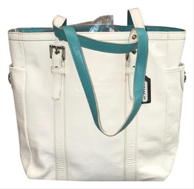 Item - Shopping Wrislet Cream & Teal Patent Leather Tote