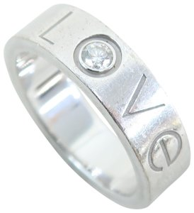 Cartier White Gold Size 52 Single Diamond Love Band Ring
