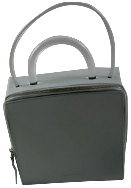 Item - Box Handle Structural Light Blue / Clear Leather Tote