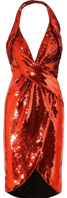 Item - Aw15 Couture Jeremy Scott Red Wrpeffect Sequined Crepe Halterneck Mid-length Short Casual Dress Size 14 (L)