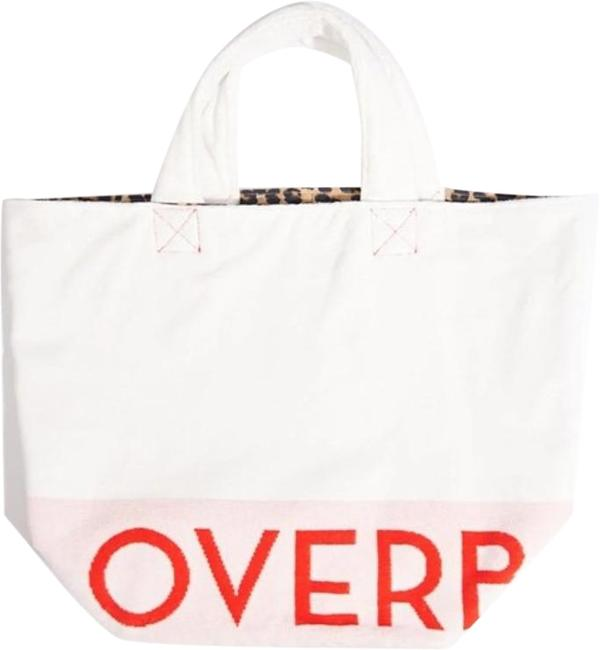 Item - Kassatex Overboard White & Leopard Print Cotton Beach Bag