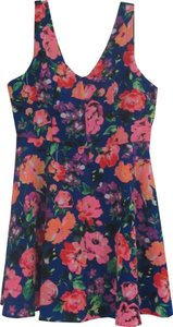 One Clothing short dress Multi-Color Floral Rose Print V-neck Front/Back Sleeveless Exposed Back Zip Fit&flare Style on Tradesy