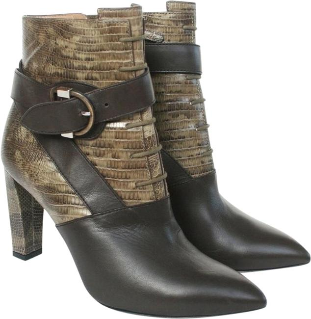 Item - Green Brown Lizard Leather Buckle Wrap Ankle Boots/Booties Size EU 36 (Approx. US 6) Regular (M, B)