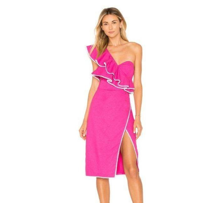 Item - Magenta / White Magdalena Mid-length Cocktail Dress Size 8 (M)