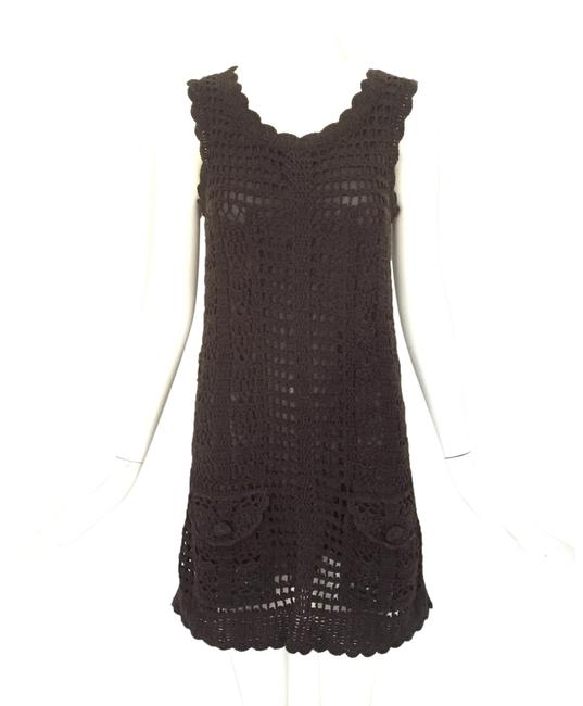 Item - Brown Crochet Shift Mid-length Short Casual Dress Size 6 (S)