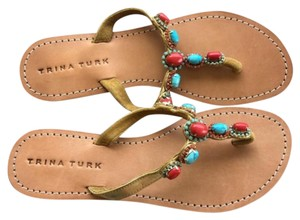 Trina Turk Stone Details Leather Outsole Suede saddle tan, red , turquoise Sandals