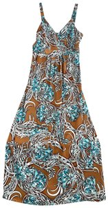 blue, brown, white Maxi Dress by Miss Tina