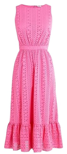 Item - Pink Eyelet Embroidered Tiered Brilliant Azalea Mid-length Cocktail Dress Size 8 (M)