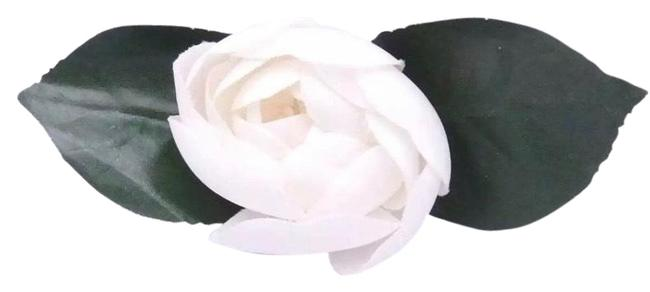 Chanel White/Green Hand Wrapped Silk Camelia Brooch Chanel White/Green Hand Wrapped Silk Camelia Brooch Image 1